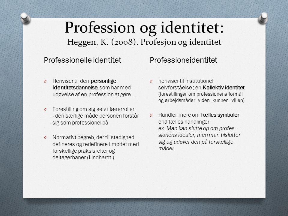 Profession og identitet: Heggen, K. (2008). Profesjon og identitet