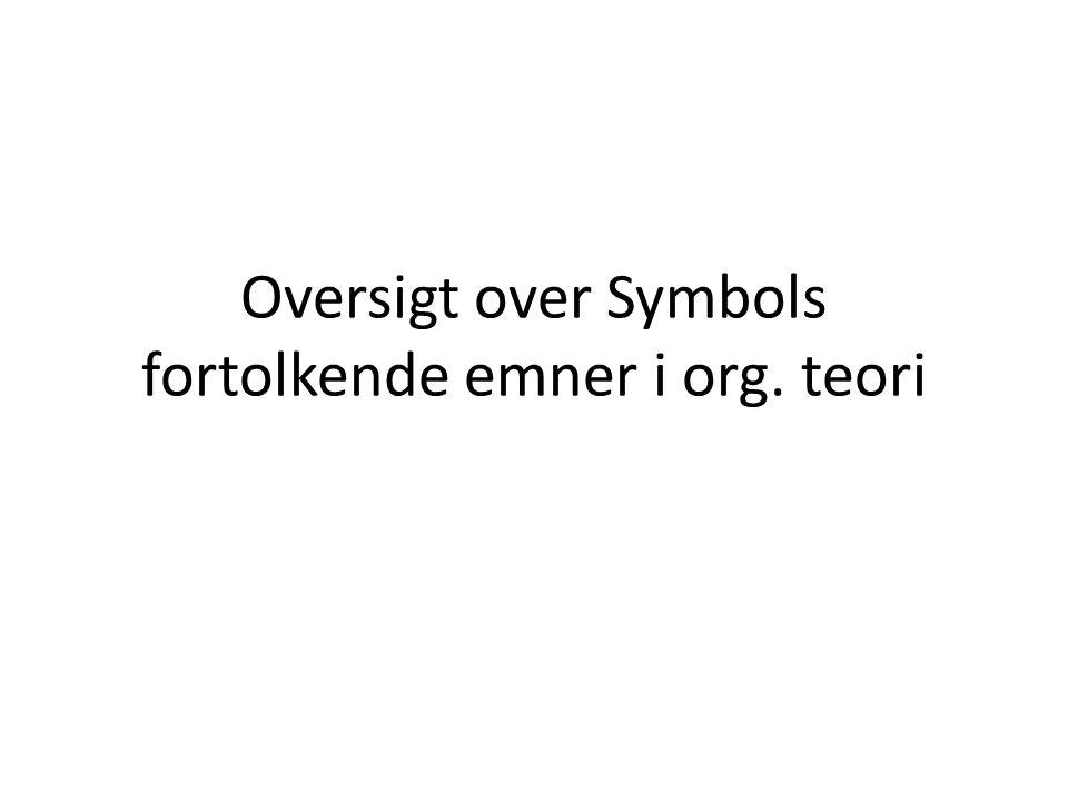 Oversigt over Symbols fortolkende emner i org. teori