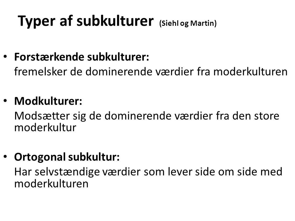 Typer af subkulturer (Siehl og Martin)