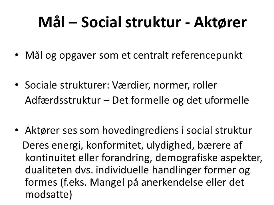 Mål – Social struktur - Aktører