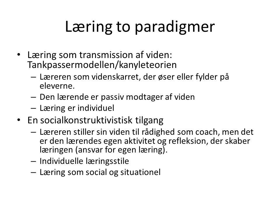 Læring to paradigmer Læring som transmission af viden: Tankpassermodellen/kanyleteorien.