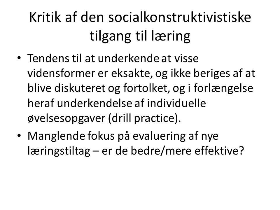 Kritik af den socialkonstruktivistiske tilgang til læring