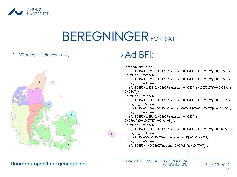 Beregninger Fortsat Ad BFI: Danmark opdelt i ni georegioner.
