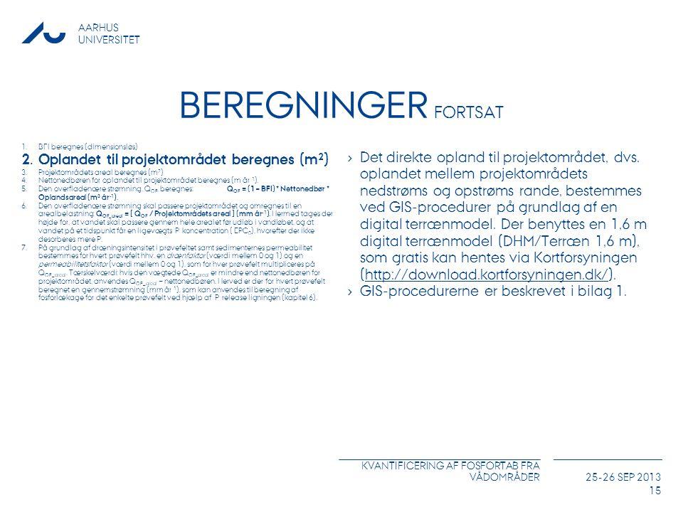 Beregninger Fortsat Oplandet til projektområdet beregnes (m2)