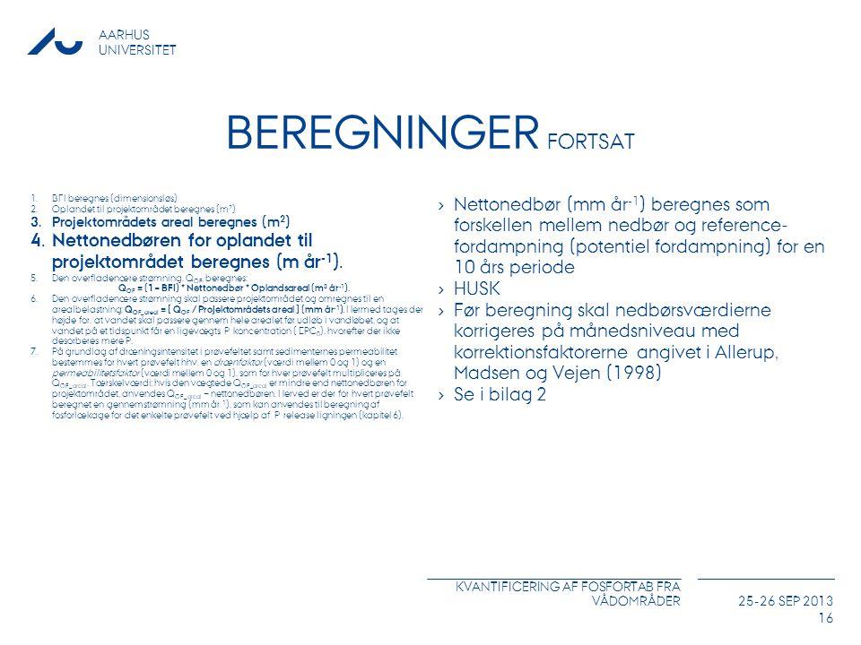 Beregninger Fortsat BFI beregnes (dimensionsløs) Oplandet til projektområdet beregnes (m2) Projektområdets areal beregnes (m2)