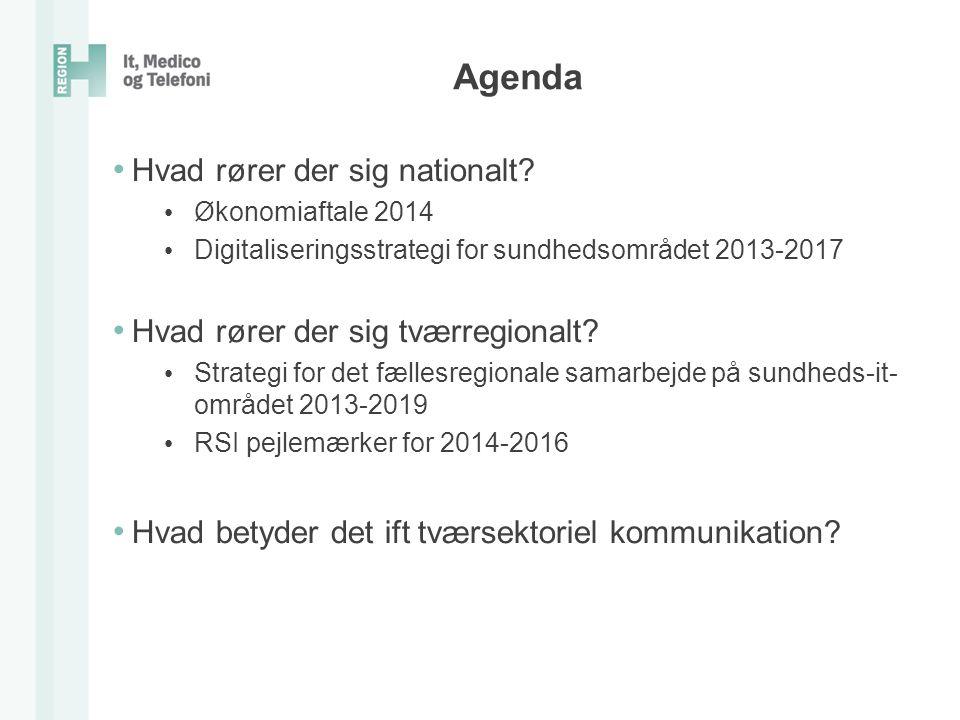 Agenda Hvad rører der sig nationalt Hvad rører der sig tværregionalt