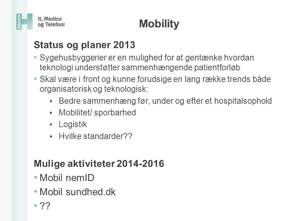 Mobility Status og planer 2013 Mulige aktiviteter 2014-2016
