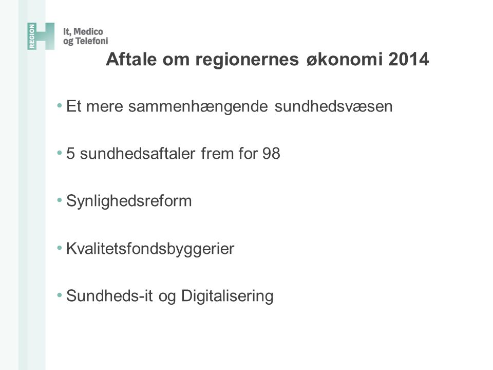 Aftale om regionernes økonomi 2014