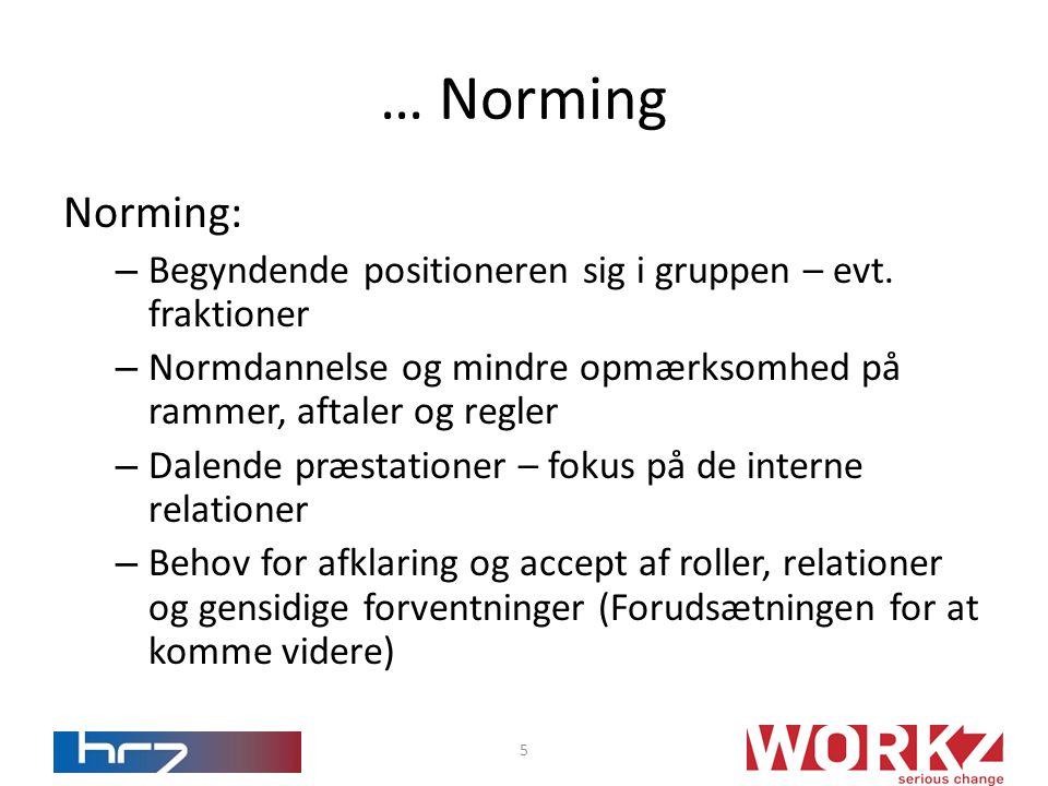 … Norming Norming: Begyndende positioneren sig i gruppen – evt. fraktioner. Normdannelse og mindre opmærksomhed på rammer, aftaler og regler.