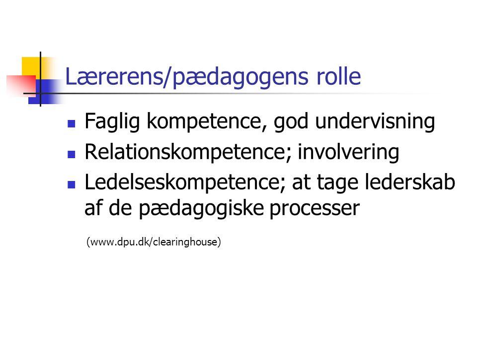 Lærerens/pædagogens rolle
