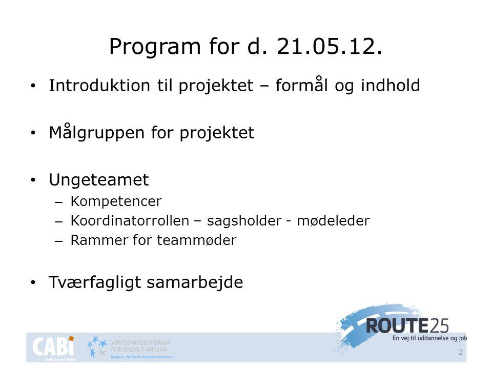Program for d. 21.05.12. Introduktion til projektet – formål og indhold. Målgruppen for projektet.