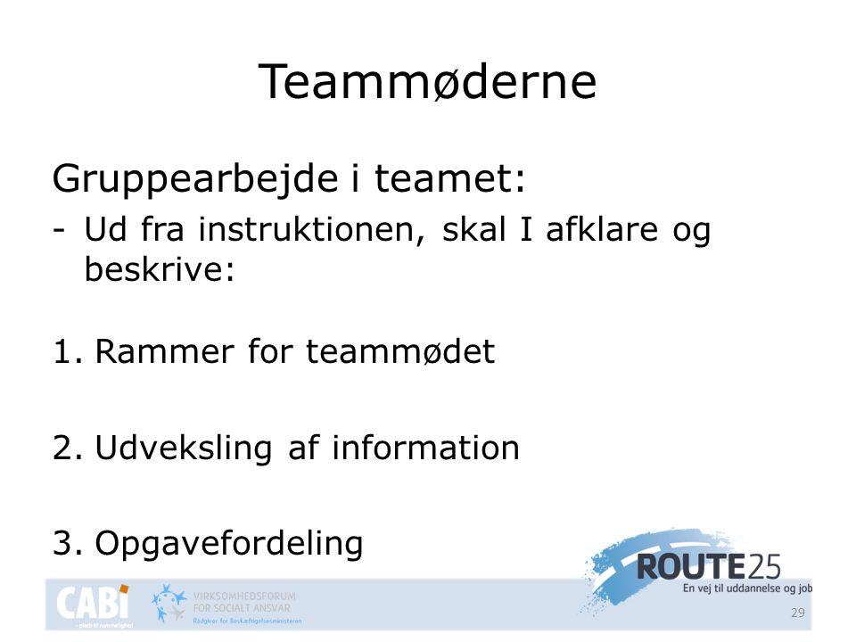 Teammøderne Gruppearbejde i teamet: