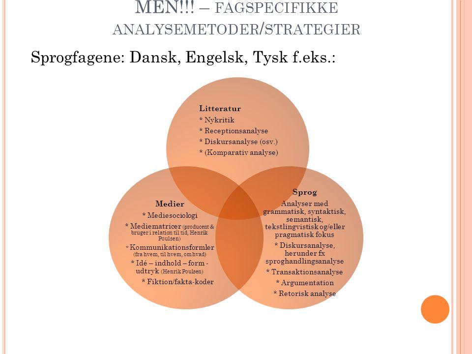MEN!!! – fagspecifikke analysemetoder/strategier