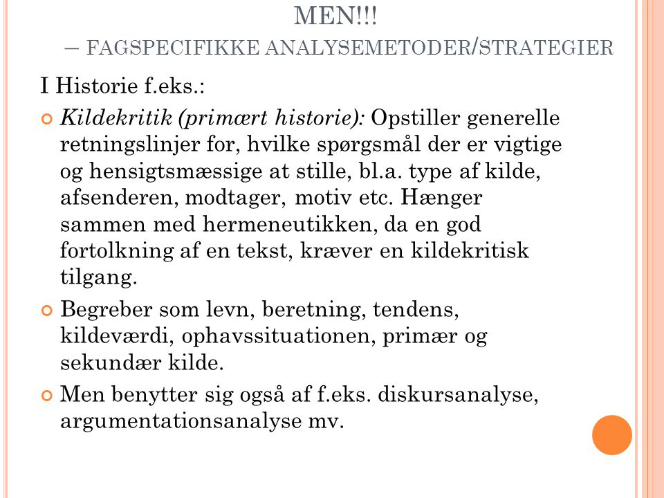 MEN!!! – fagspecifikke analysemetoder/strategier