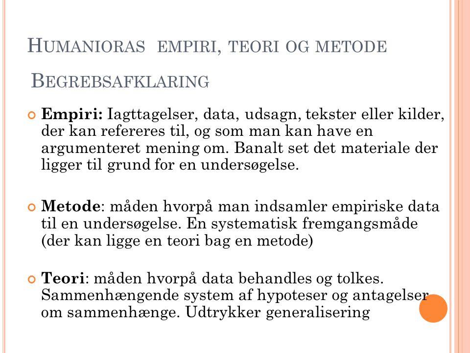 Humanioras empiri, teori og metode