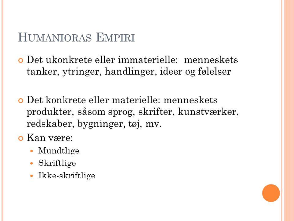 Humanioras Empiri Det ukonkrete eller immaterielle: menneskets tanker, ytringer, handlinger, ideer og følelser.