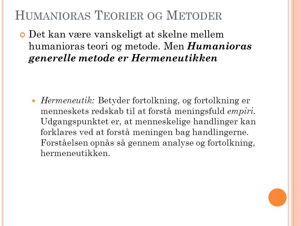 Humanioras Teorier og Metoder