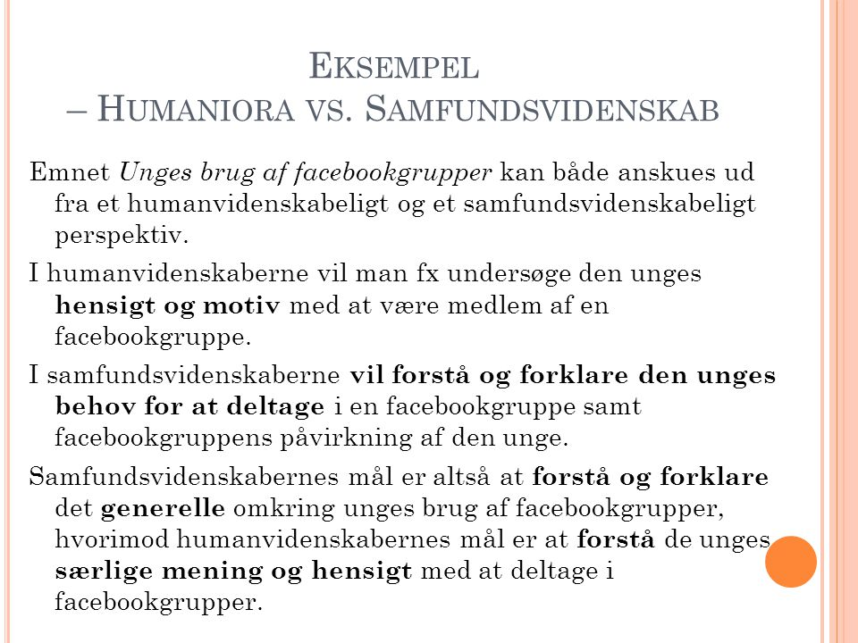 Eksempel – Humaniora vs. Samfundsvidenskab