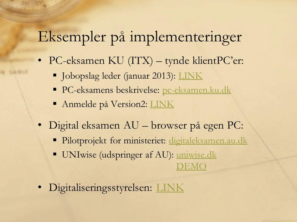 Eksempler på implementeringer