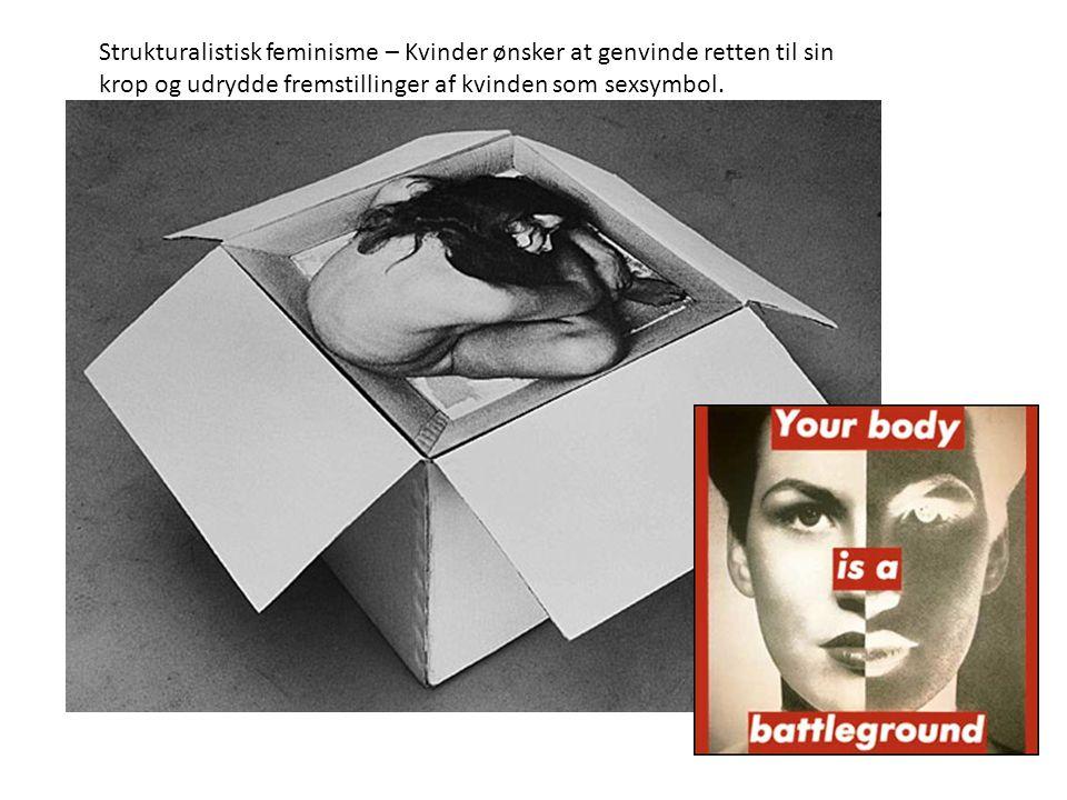 Strukturalistisk feminisme – Kvinder ønsker at genvinde retten til sin krop og udrydde fremstillinger af kvinden som sexsymbol.
