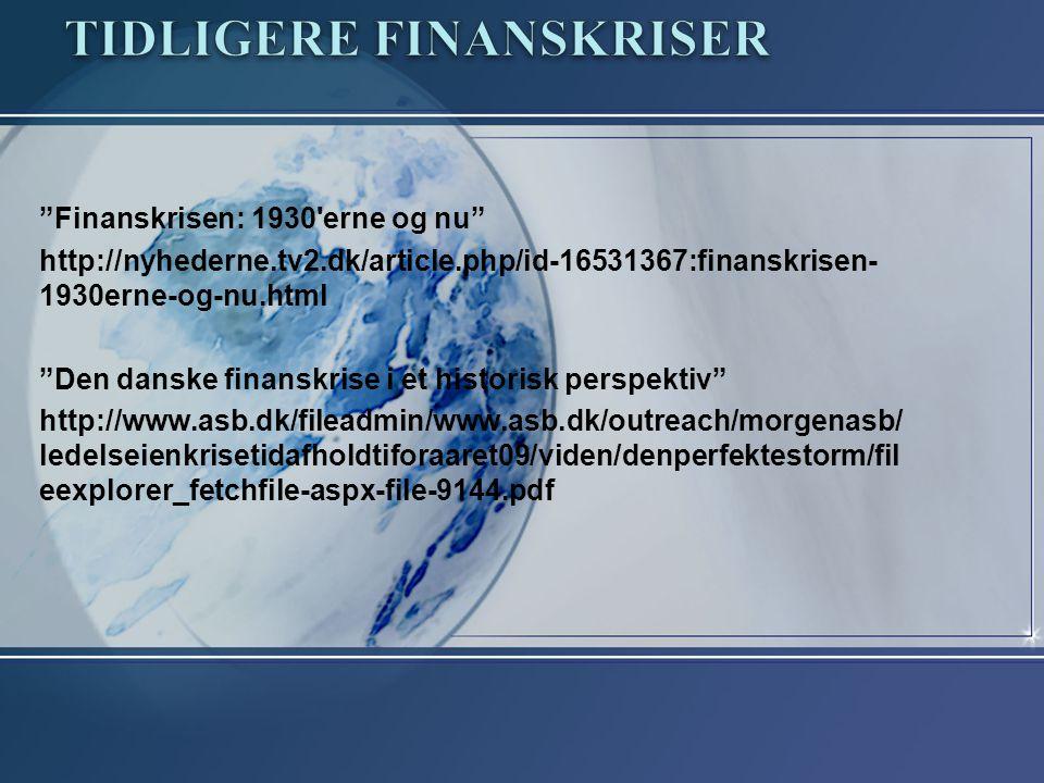 Tidligere finanskriser