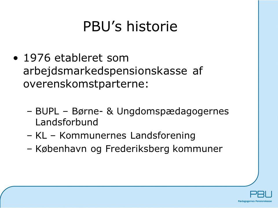 PBU's historie 1976 etableret som arbejdsmarkedspensionskasse af overenskomstparterne: BUPL – Børne- & Ungdomspædagogernes Landsforbund.