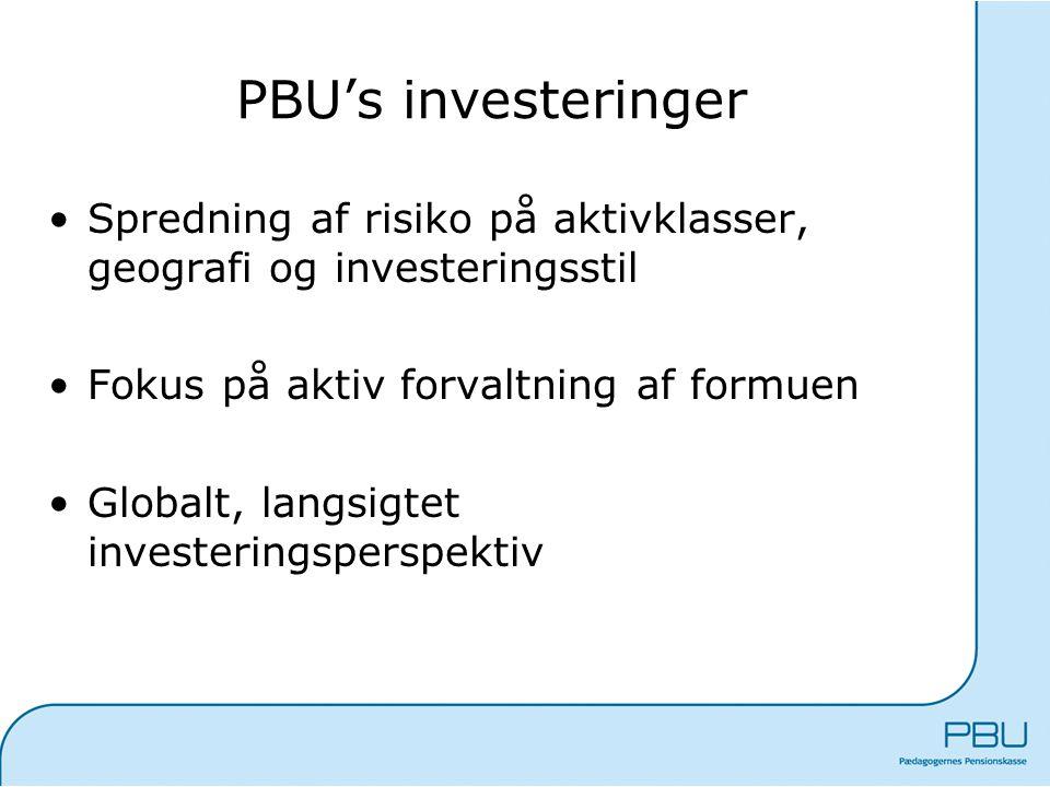 PBU's investeringer Spredning af risiko på aktivklasser, geografi og investeringsstil. Fokus på aktiv forvaltning af formuen.