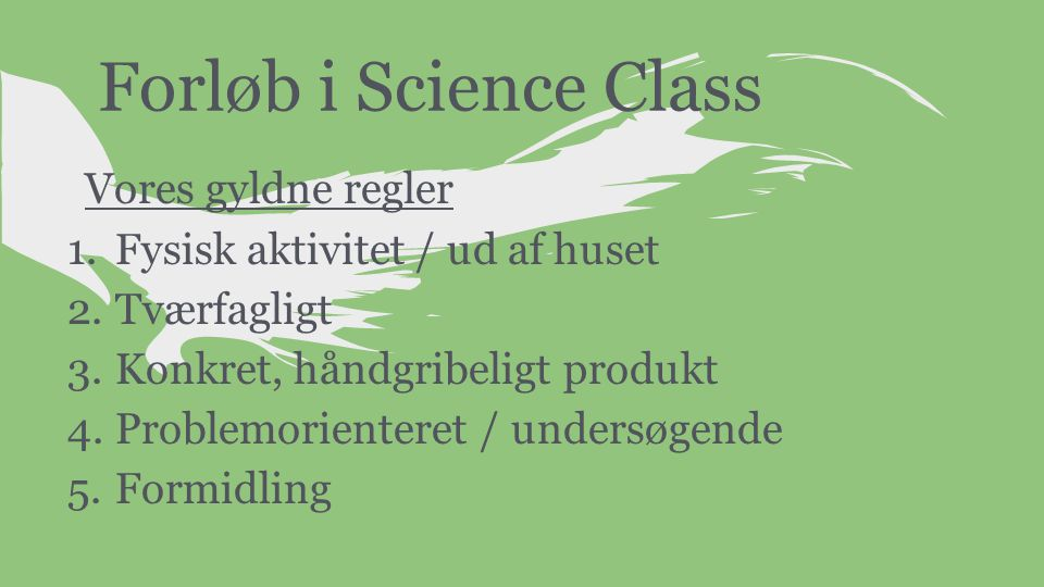 Forløb i Science Class Vores gyldne regler