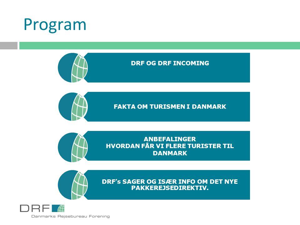 Program DRF OG DRF INCOMING FAKTA OM TURISMEN I DANMARK ANBEFALINGER