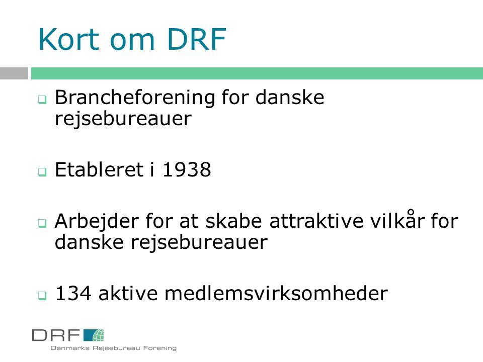 Kort om DRF Brancheforening for danske rejsebureauer Etableret i 1938