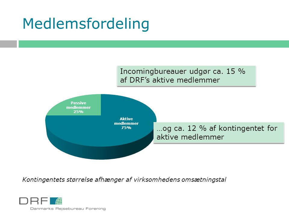 Medlemsfordeling Incomingbureauer udgør ca. 15 %