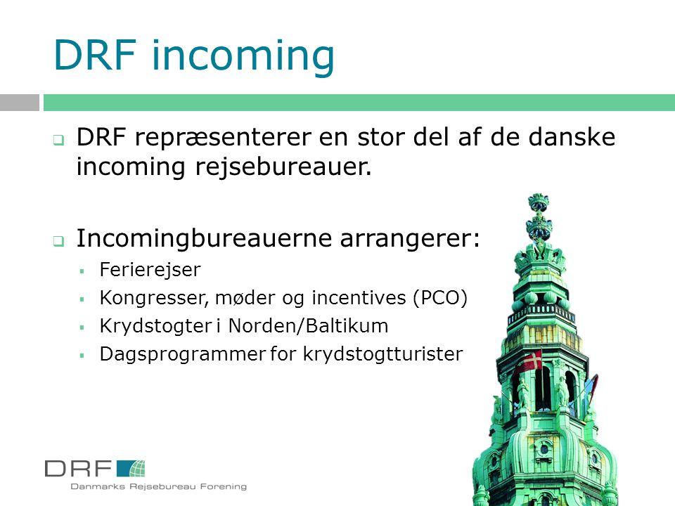 DRF incoming DRF repræsenterer en stor del af de danske incoming rejsebureauer. Incomingbureauerne arrangerer: