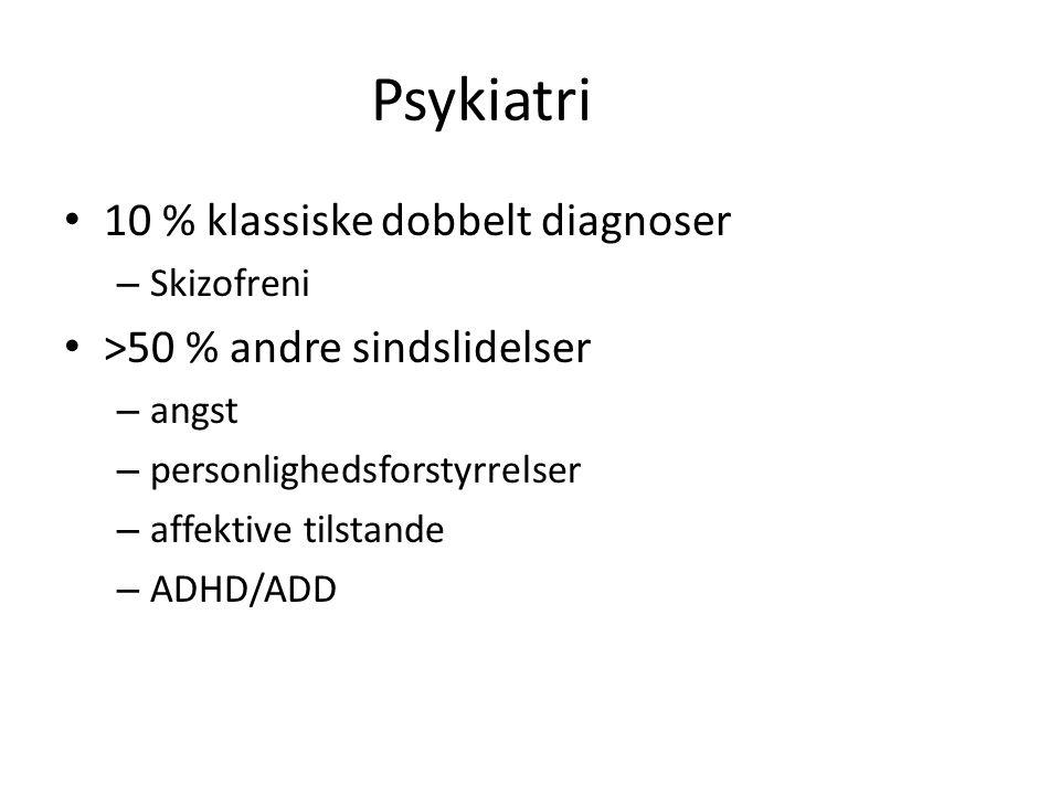 Psykiatri 10 % klassiske dobbelt diagnoser