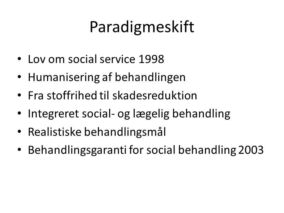 Paradigmeskift Lov om social service 1998 Humanisering af behandlingen
