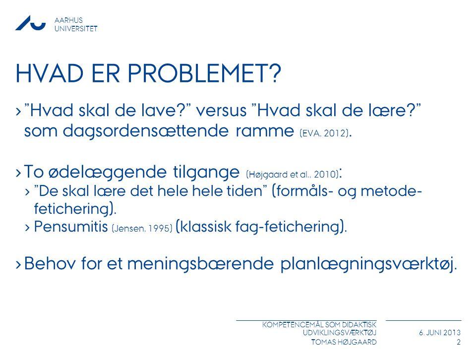 Hvad er problemet Hvad skal de lave versus Hvad skal de lære som dagsordensættende ramme (EVA, 2012).