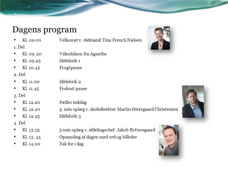 Dagens program Kl. 09.00 Velkomst v. rådmand Tina French Nielsen