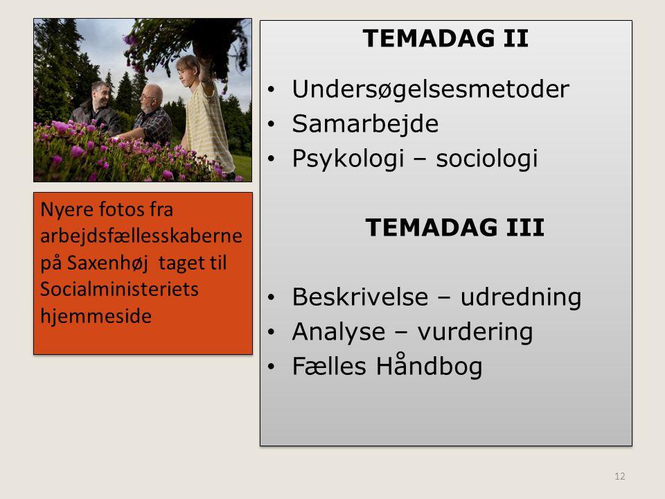 Undersøgelsesmetoder Samarbejde Psykologi – sociologi TEMADAG III