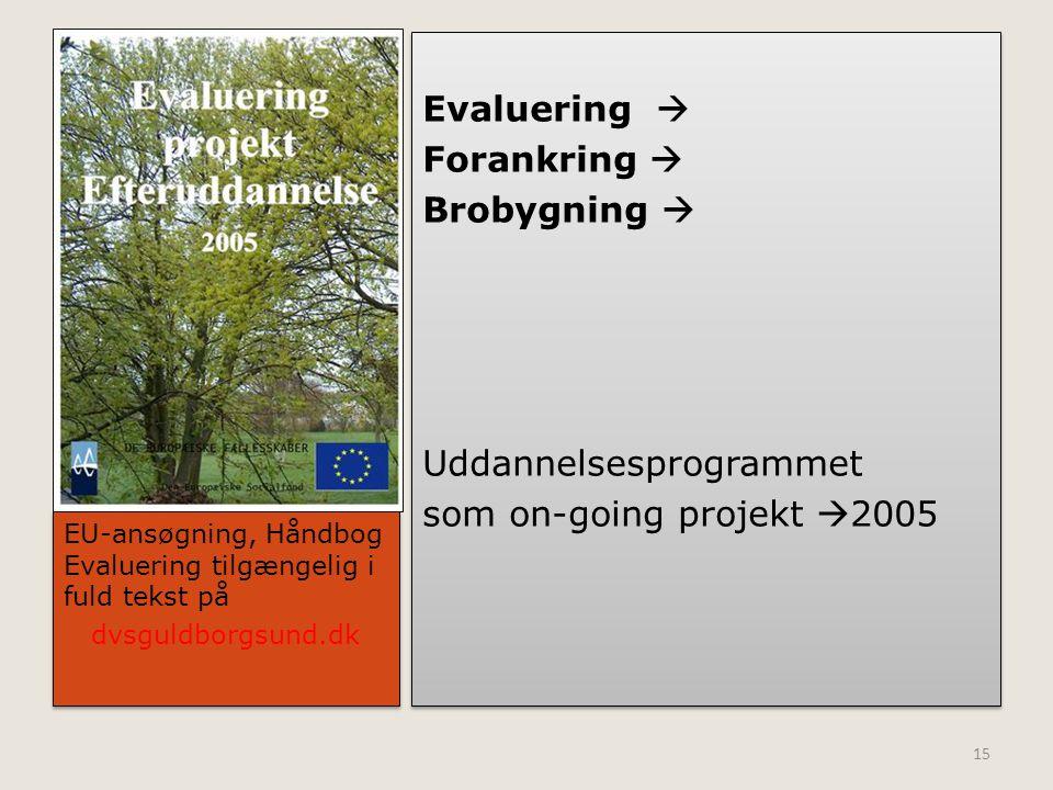 Evaluering  Forankring  Brobygning  Uddannelsesprogrammet som on-going projekt 2005
