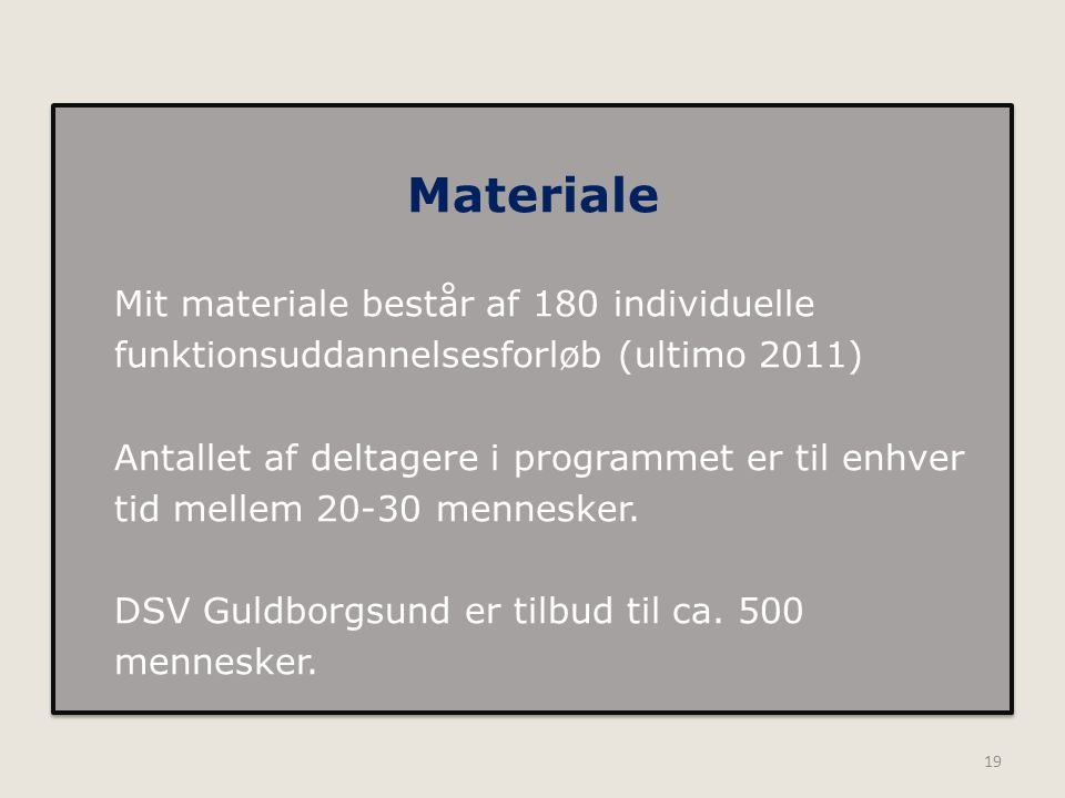 Materiale Mit materiale består af 180 individuelle