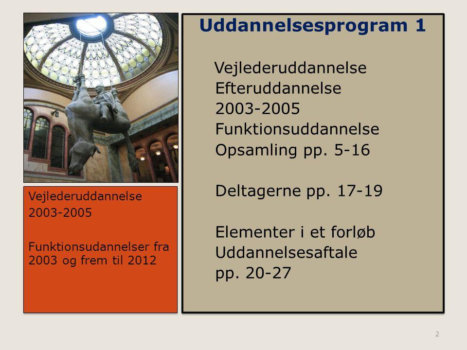 Uddannelsesprogram 1 Vejlederuddannelse Efteruddannelse 2003-2005