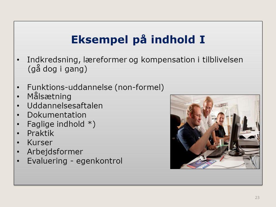 Eksempel på indhold I Indkredsning, læreformer og kompensation i tilblivelsen. (gå dog i gang) Funktions-uddannelse (non-formel)