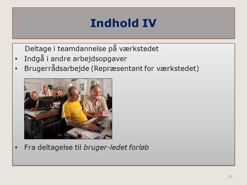 Indhold IV Deltage i teamdannelse på værkstedet