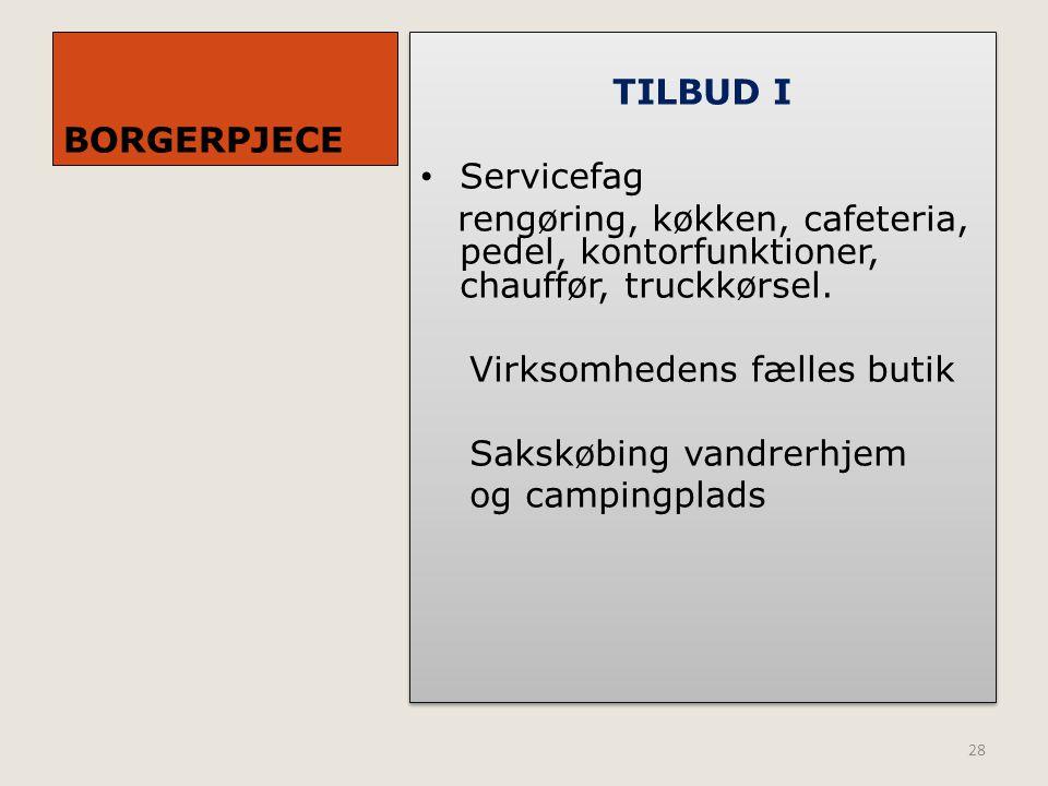 BORGERPJECE TILBUD I. Servicefag. rengøring, køkken, cafeteria, pedel, kontorfunktioner, chauffør, truckkørsel.