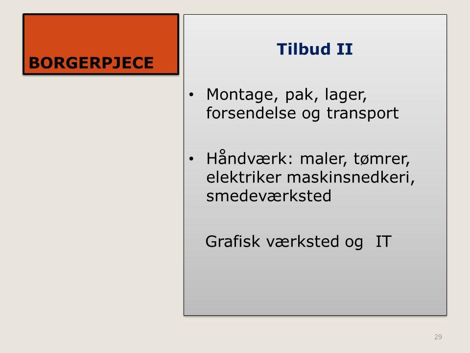 BORGERPJECE Tilbud II. Montage, pak, lager, forsendelse og transport. Håndværk: maler, tømrer, elektriker maskinsnedkeri, smedeværksted.
