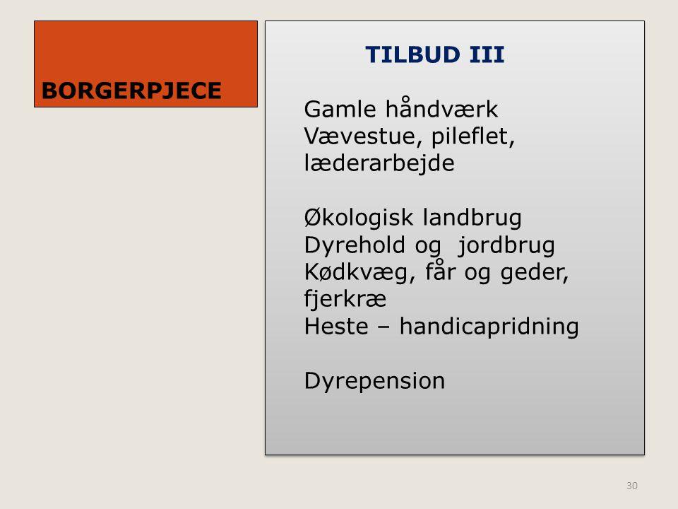BORGERPJECE TILBUD III. Gamle håndværk. Vævestue, pileflet, læderarbejde. Økologisk landbrug. Dyrehold og jordbrug.