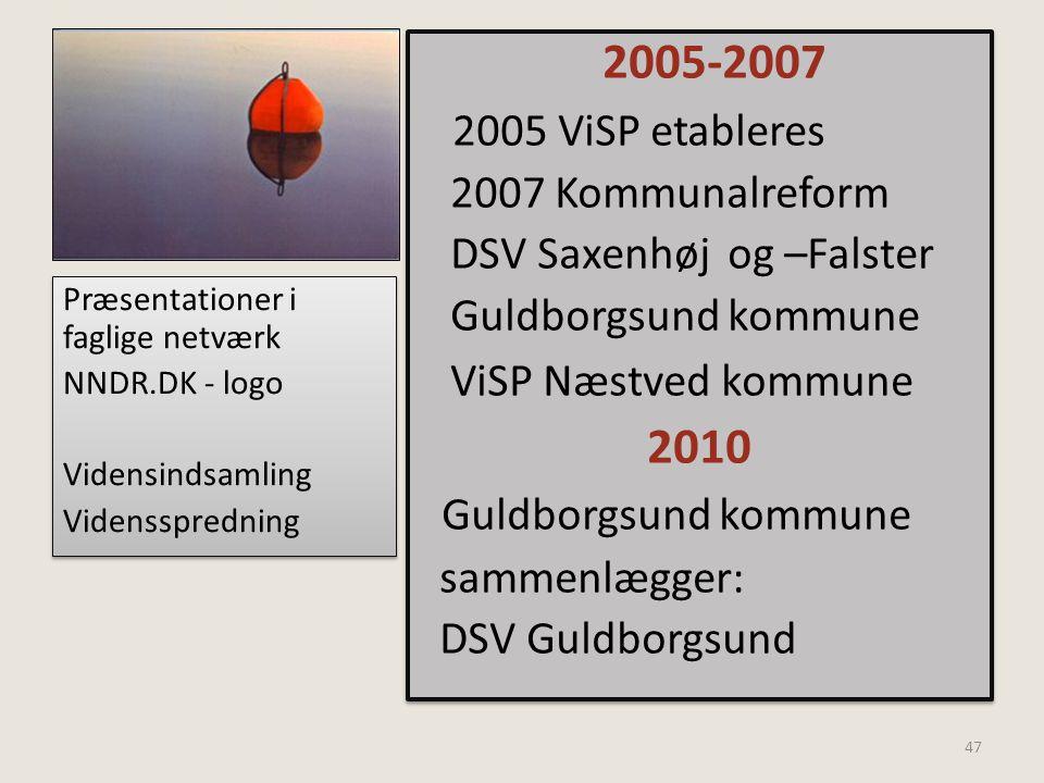 2005 ViSP etableres 2010 2007 Kommunalreform DSV Saxenhøj og –Falster