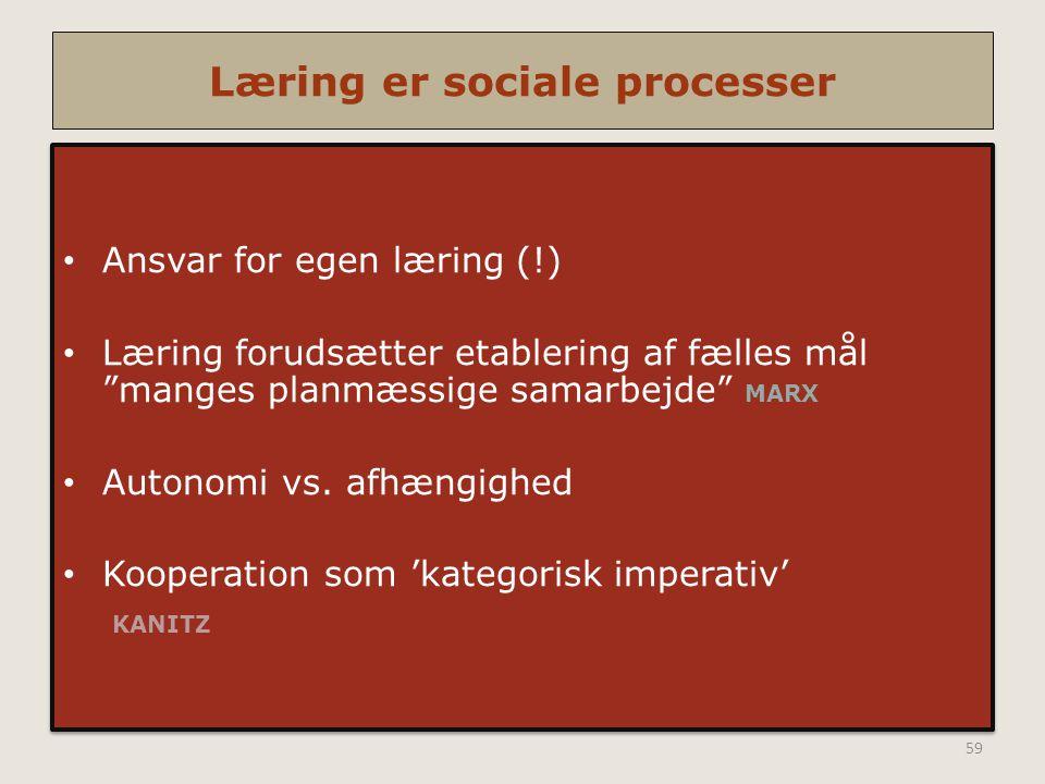 Læring er sociale processer