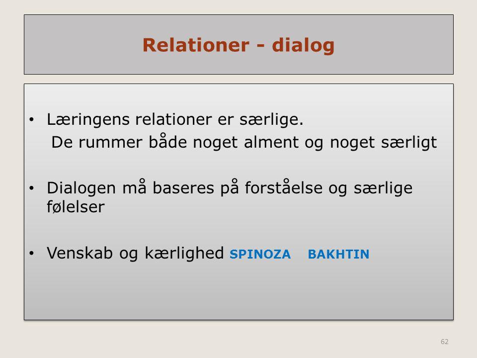 Relationer - dialog Læringens relationer er særlige.