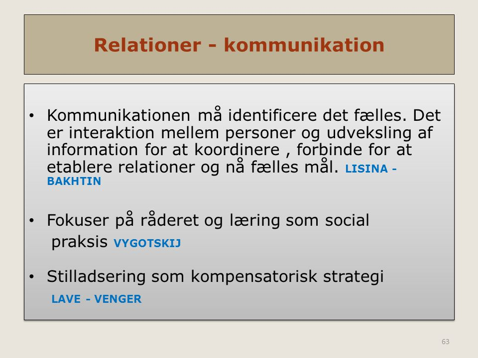Relationer - kommunikation