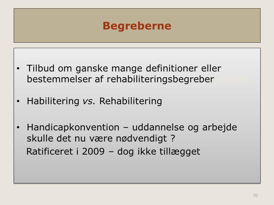 Begreberne Tilbud om ganske mange definitioner eller bestemmelser af rehabiliteringsbegreber HVIDBOG.